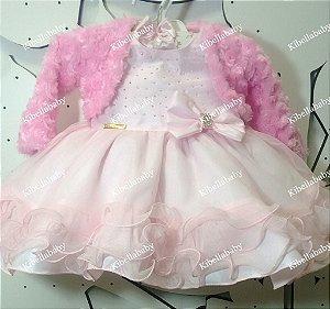 Vestido Infantil Princesa Baby com Bolero - tam P ao G