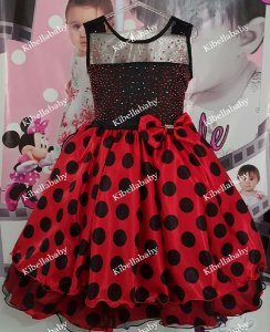 Vestido Infantil/Juvenil Minnie com Bolinhas Pretas - tam 4 ao 12