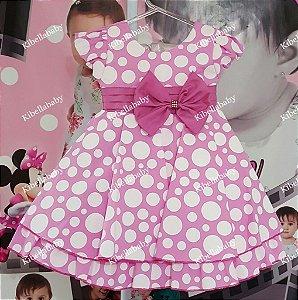 Vestido Infantil Minnie Rosa com Bolinha Branca - tam 1 ao 3