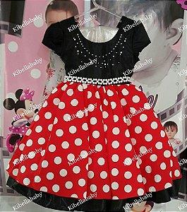 Vestido Infantil Minnie com Bolinhas Brancas - tam 6