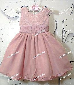 Vestido Infantil de Festa Rose - tam 1 ao 3