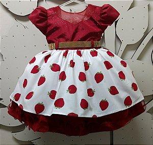 Vestido Infantil Moranguinho - tam 1 ao 3