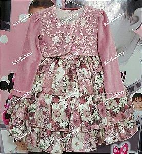 Vestido Infantil de Festa Pupila Rosemary com Bolero - tam 1 ao 4