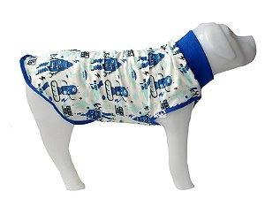 Pijama de Cachorro em Malha Azul