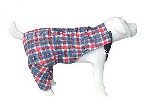 Macacão Pet Jeans Xadrez Vermelho para Fêmeas