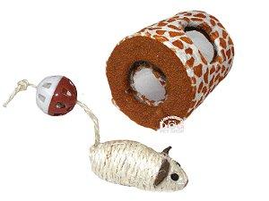 Brinquedo para Gatos - Arranhador Cilindro com Ratinho