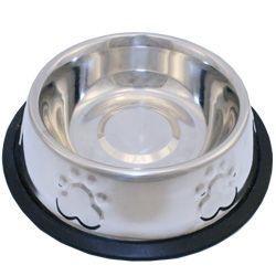 Comedouro em Inox com Alto Relevo Patinhas para Cães