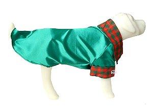 Roupa de Cachorro - Camisa Pet em Cetim Verde - Peso 2,5 a 8,5 kg.