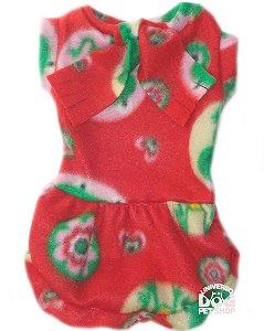 Roupa para Cachorro em Soft - Vestido Vermelho com Laço - Peso indicado: 2,5 a 4,5 Kg