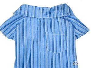 Roupa de Cachorro Camisa com Bolso Azul  - Peso indicado: 2,5 a 4,5 Kg