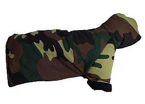 Casaco para Cachorro com Capuz acolchoado com Estampa Militar