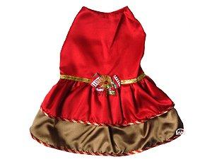 Vestido Pet Vermelho em Cetim