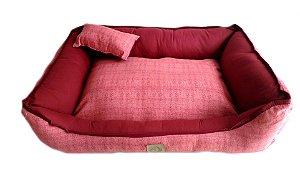 Cama de Cachorro Rubi Luxo - Vermelha - Porte Médio 60 cm x 45 cm 100% Lavável