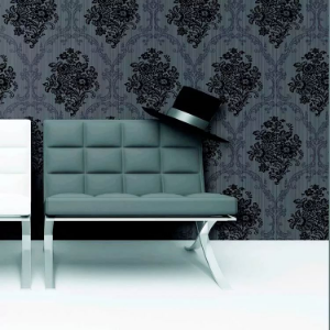 Papel de Parede para Sala de TV - Floral Arabesco (Preto e Cinza)