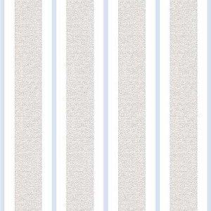 Papel de Parede Quarto Infantil Listras Largas Cinza Azul Claro e Branco