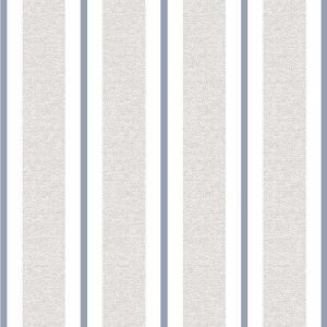 Papel de Parede Quarto Infantil Listras Largas Cinza Azul Escuro e Branco