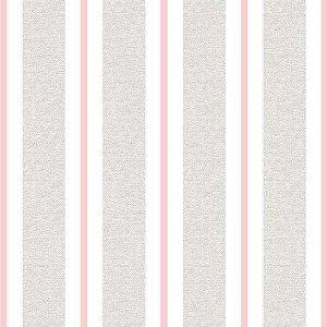 Papel de Parede Quarto Infantil Listras Largas Cinza Rosa e Branco