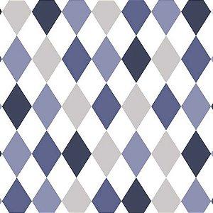 Papel de Parede Quarto Infantil Losango Azul Cinza e Branco