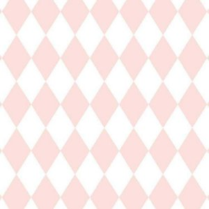 Papel de Parede Quarto Infantil Losango Rosa e Branco