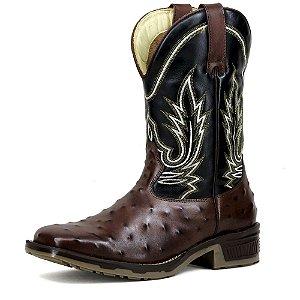 Bota Texana Masculina Estampa Avestruz Bico Quadrado em Couro Francalce Escrete