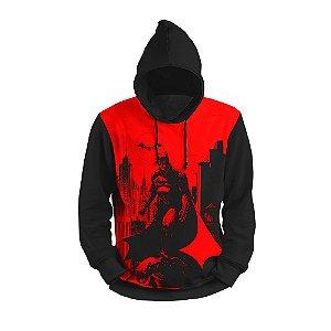 Moletom Morcego Vermelho Full Print 3d com Capuz Unissex