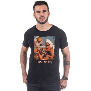 Camiseta Masculina Estampada É Tudo Fake News  Use Thuco