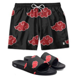 Kit Shorts E Chinelo Slide Use Thuco Naruto Akatsuki Preto