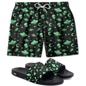 Kit Shorts E Chinelo Slide Aliens Et Use Thuco