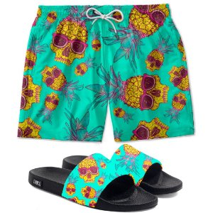 Kit Shorts E Chinelo Slide Caveiras Tropical Use Thuco