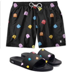 Kit Shorts E Chinelo Slide Pacman Use Thuco
