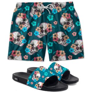 Kit Shorts E Chinelo Slide Caveira Flor Use Thuco