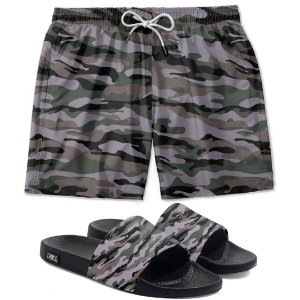 Kit Short E Chinelo Slide Camuflado Use Thuco