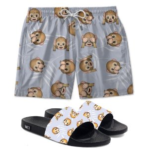 Kit Shorts E Chinelo Slide Monkey