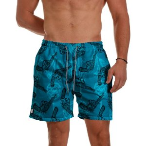 Short Praia Use Thuco Love and Guns Blue