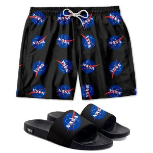 Kit Shorts E Chinelo Slide Space Nasa Use Thuco