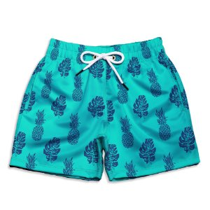 Short Praia Infantil UseThuco Abacaxi Azuls