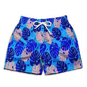 Short Praia Infantil UseThuco Folhas Azul