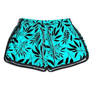 Short Praia Feminino UseThuco Folhagem Azul com Preto