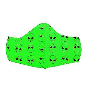 Mascara Proteção Em Tecido Lavável Unissex Aliens Green Use Thuco