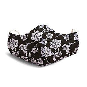 Mascara Proteção Em Tecido Lavável Unissex Base Black White Flowers Use Thuco
