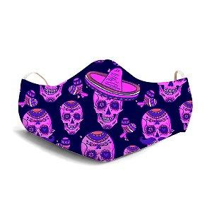 Mascara Proteção Em Tecido Lavável Unissex Base  Día de Los Muertos Use Thuco