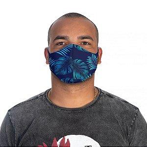 Mascara Proteção Masculina Em Tecido Lavável Neoprene Floral Azul Use Thuco