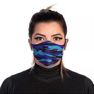 Mascara Proteção Feminina Em Tecido Lavável Neoprene Camuflado Azul