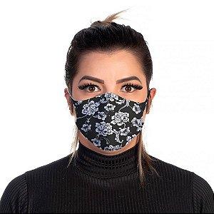 Mascara Proteção Feminina Em Tecido Lavável Neoprene Floral Branca