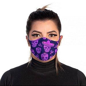 Mascara Proteção Feminina Em Tecido Lavável Neoprene Dia de Los Muertos