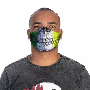 Mascara Proteção Masculino Em Tecido Lavável Neoprene Skull Brasil Use Thuco