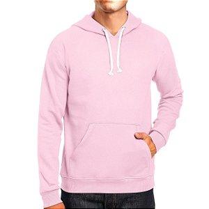 Moletom Masculino Capuz Bolso Canguro Básico Rosa Bebê