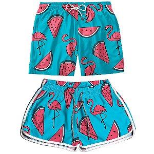 Kit Casal Dois Shorts de Praia Masculino e Feminino Melancia Use Thuco