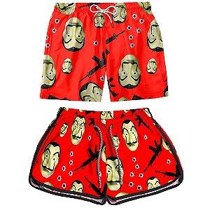 Kit Casal Dois Shorts de Praia Masculino e Feminino La Casa de Papel Use Thuco