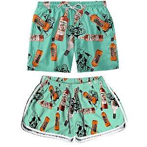 Kit Casal Dois Shorts de Praia Masculino e Feminino Ron Montilla Use Thuco